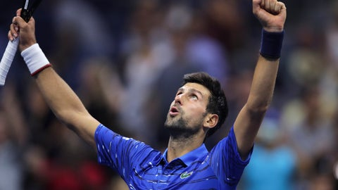 <p>               Novak Djokovic, of Serbia, celebrates after defeating Denis Kudla, of the United States, 6-3, 6-4, 6-2 during the third round of the U.S. Open tennis championships Friday, Aug. 30, 2019, in New York. (AP Photo/Charles Krupa)             </p>