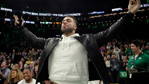 """<p>               FILE - In this Feb. 7, 2019, file photo, New England Patriots football player Kyle Van Noy acknowledges the fans as the Patriots Super Bowl victory is honored during a break in an NBA basketball game between the Boston Celtics and the Los Angeles Lakers, in Boston. Van Noy had plenty of nice things to say about his former team. Of course, it's been his own career that's taken off since he left Detroit. """"It feels good to come back a winner and say hi to people I haven't seen in a while,"""" the New England linebacker said. (AP Photo/Elise Amendola, File)             </p>"""