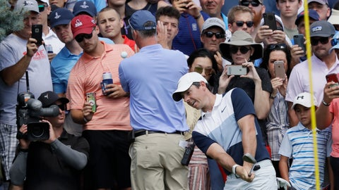 <p>               Rory McIlroy, of Northern Ireland, chips from the edge of the third hole green in the final round of the Northern Trust golf tournament at Liberty National Golf Course, Sunday, Aug. 11, 2019, in Jersey City, N.J. (AP Photo/Mark Lennihan)             </p>