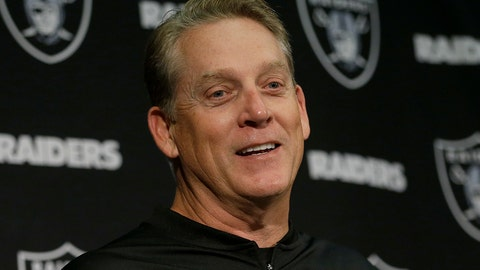 "<p>               FILE - In this Nov. 26, 2017, file photo, then-Oakland Raiders head coach Jack Del Rio speaks at a news conference after an NFL football game against the Denver Broncos in Oakland, Calif. Jack Del Rio never shied away from giving his opinion as a player and a coach. He isn't about to change his approach as an analyst. ESPN announced on Thursday, Aug. 15, 2019, that it has hired the former Jacksonville Jaguars and Oakland Raiders coach as an analyst. His first appearance will be Friday on ""NFL Live"".(AP Photo/Ben Margot, File)             </p>"