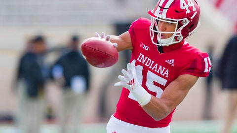 <p>               FILE - In this Saturday, Oct. 13, 2018, file photo, Indiana wide receiver Nick Westbrook (15) warms up before an NCAA college football game in Bloomington, Ind. Westbrook senses this season will be different at Indiana.  He hears coaches debating how to use their suddenly deep roster. He sees players holding teammates accountable and brimming with confidence. (AP Photo/Doug McSchooler, File)             </p>