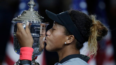 <p>               FILE - In this Sept. 8, 2018, file photo, Naomi Osaka, of Japan, kisses the trophy after defeating Naomi Osaka, of Japan, in the women's final of the U.S. Open tennis tournament in New York. Osaka is ranked No. 1 heading into the U.S. Open, where she will attempt to defend a Grand Slam title for the first time. (AP Photo/Julio Cortez, File)             </p>