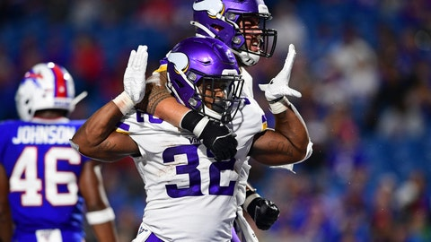 <p>               Minnesota Vikings running back De'Angelo Henderson (32) celebrates his touchdown with offensive guard Dru Samia, rear, during the second half of an NFL preseason football game against the Buffalo Bills in Orchard Park, N.Y., Thursday, Aug. 29, 2019. (AP Photo/David Dermer)             </p>