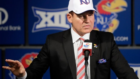 <p>               FILE - In this Nov. 18, 2018, file photo, University of Kansas football coach Les Miles makes a statement during a news conference in Lawrence, Kan.  Les Miles has plenty of experience taking over floundering Big 12 football programs, having done so once at Oklahoma State. But he faces an enormous rebuilding job at Kansas, where there hasn't been a winning season since 2008. (AP Photo/Orlin Wagner, File)             </p>
