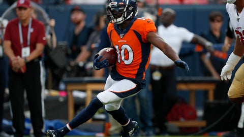 <p>               Denver Broncos wide receiver Emmanuel Sanders (10) runs after the catch against the San Francisco 49ers during an NFL preseason football game, Monday, Aug. 19, 2019, in Denver. (AP Photo/David Zalubowski)             </p>