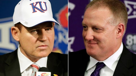 <p>               FILE - This combination of file photos shows new Kansas football coach Les Miles, left, at an NCAA college football news conference in Lawrence, Kan., Nov. 18, 2018, and  Chris Klieman introduced as the 35th Kansas State head football coach in Manhattan, Kan., Dec. 12, 2018. The two schools took vastly different approaches to hiring new head coaches. (AP Photo/Orlin Wagner, File)             </p>