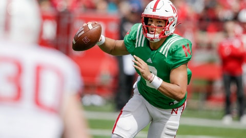 <p>               FILE - In this April 13, 2019, file photo, Nebraska red team quarterback Adrian Martinez (2) scrambles during Nebraska's NCAA college football annual red-white spring game, in Lincoln, Neb. No. 24 Nebraska is in the preseason Top 25 for the first time since 2014, and a big reason for the positive vibe is Adrian Martinez. He was the most productive freshman quarterback in the nation, and more is expected this season. (AP Photo/Nati Harnik, File)             </p>