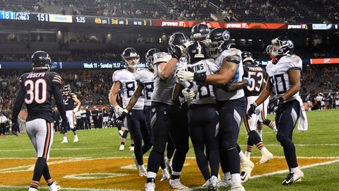 <p>               Tennessee Titans running back Dalyn Dawkins (28) celebrates with teammates after scoring a touchdown during the second half against the Chicago Bears in an NFL preseason football game Thursday, Aug. 29, 2019, in Chicago. Tennessee won 19-15. (AP Photo/David Banks)             </p>