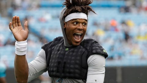 <p>               Carolina Panthers quarterback Cam Newton waves to the crowd during a Fan Fest practice at the NFL football team's training camp in Charlotte, N.C., Friday, Aug. 2, 2019. (AP Photo/Chuck Burton)             </p>