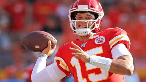 <p>               Kansas City Chiefs quarterback Patrick Mahomes warms up before an NFL preseason football game against the Cincinnati Bengals in Kansas City, Mo., Saturday, Aug. 10, 2019. (AP Photo/Colin E. Braley)             </p>