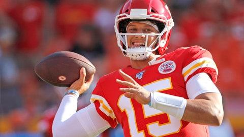 <p>               Kansas City Chiefs quarterback Patrick Mahomes warms up before an NFL preseason football game against the Cincinnati Bengals in Kansas City, Mo., Saturday, Aug. 10, 2019. (AP Photo/Colin E. Braley)             </p>