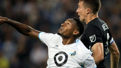 <p>               Minnesota United forward Mason Toye, left, heads the ball next to Sporting Kansas City defender Matt Besler during the first half of an MLS soccer match in Kansas City, Kan., Thursday, Aug. 22, 2019. (AP Photo/Orlin Wagner)             </p>