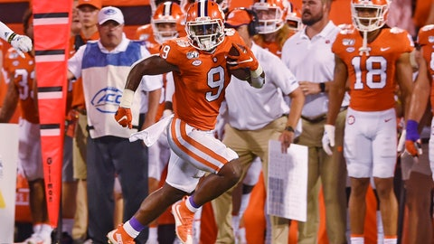 <p>               Clemson's Travis Etienne runs down the sideline for a 90-yard touchdown during the first half of the team's NCAA college football game against Georgia Tech on Thursday, Aug. 29, 2019, in Clemson, S.C. (AP Photo/Richard Shiro)             </p>