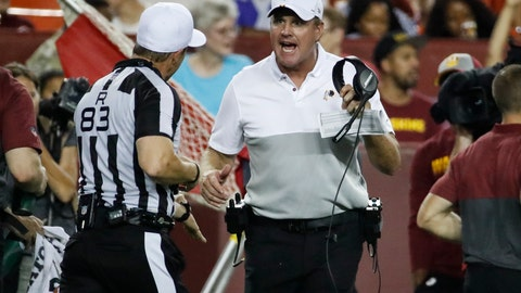 <p>               Washington Redskins coach Jay Gruden, center, discusses a call with referee Shawn Hochuli (83) during the second half of the team's NFL preseason football game against the Cincinnati Bengals, Thursday, Aug. 15, 2019, in Landover, Md. The Bengals won 23-13. (AP Photo/Alex Brandon)             </p>