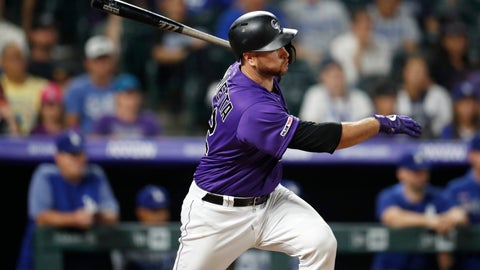<p>               Colorado Rockies' Chris Iannetta watches his single off Los Angeles Dodgers' Tony Gonsolin during the ninth inning of a baseball game Tuesday, July 30, 2019, in Denver. The Dodgers won 9-4. (AP Photo/David Zalubowski)             </p>