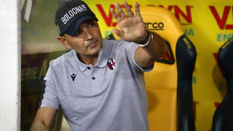 <p>               Bologna coach Sinisa Mihajlovic salutes prior to the Italian Serie A soccer match between Verona and Bologna at the Marcantonio Bentegodi stadium in Verona, Italy, Sunday, Aug. 25.  2019. (Filippo Venezia/ANSA via AP)             </p>