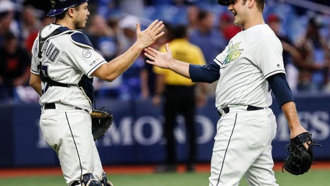 <p>               Tampa Bay Rays pitcher Andrew Kittredge, right, celebrates with catcher Travis d'Arnaud following a baseball game against the Cleveland Indians, Friday, Aug. 30, 2019, in St. Petersburg, Fla. (AP Photo/Scott Audette)             </p>
