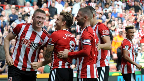 <p>               CAPTION ADDS PLAYERS ID Sheffield United's John Lundstram, left, celebrates with teammates after scoring his sides first goal, during the English Premier League soccer match between Sheffield United and Crystal Palace at Bramall Lane in Sheffield, England, Sunday, Aug. 18, 2019. (AP Photo/Rui Vieira)             </p>