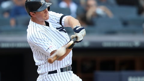<p>               New York Yankees' DJ LeMahieu hits the game winning walk off home run in the 11th inning of a baseball game against the Oakland Athletics, Saturday, Aug. 31, 2019, in New York. (AP Photo/Mary Altaffer)             </p>