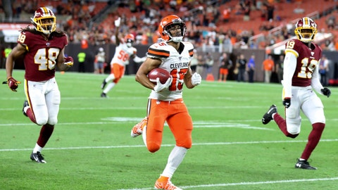"<p>               FILE - In this Aug. 8, 2019, file photo, Cleveland Browns' Damon Sheehy-Guiseppi (15) runs 86-yards for a touchdown on a punt return during the second half of the team's NFL preseason football game against the Washington Redskins, in Cleveland. ""I just saw the hole,"" he said afterward surrounded by reporters. ""I ran as fast as I could to the hole and tried to take off."" (AP Photo/Ron Schwane)             </p>"