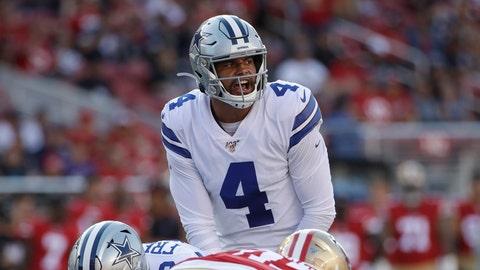<p>               Dallas Cowboys quarterback Dak Prescott (4) stands behind center during the first half of the team's NFL preseason football game against the San Francisco 49ers in Santa Clara, Calif., Saturday, Aug. 10, 2019. (AP Photo/Jeff Chiu)             </p>