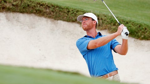 <p>               Andy Ogletree eyes his shot from a bunker during the final round against John Augenstein at the USGA Amateur Golf Championship at the Pinehurst Country Club , in Pinehurst, N.C, Sunday, Aug. 18, 2019, (AP Photo/Karl B DeBlaker)             </p>