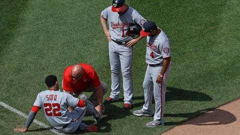 <p>               Washington Nationals' Bob Henley (14) and Dave Martinez (4) watch as a trainer checks on Juan Soto (22) after Soto was injured during the seventh inning of a baseball game against the New York Mets, Sunday, Aug. 11, 2019, in New York. (AP Photo/Frank Franklin II)             </p>