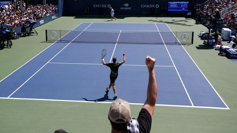 <p>               Jenson Brooksby, of the United States, foreground, reacts after defeating Tomas Berdych, of the Czech Republic, during the first round of the US Open tennis tournament Monday, Aug. 26, 2019, in New York. (AP Photo/Michael)             </p>