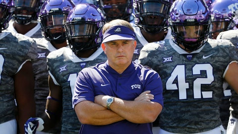 <p>               FILE - In this Saturday, Sept. 1, 2018, file photo, TCU head coach Gary Patterson stands with his team in the tunnel exit before running onto the field for an NCAA college football game against Southern University in Fort Worth, Texas. Coach Patterson is entering his 19th season at TCU coming off a 7-6 record that included an impressive late comeback, winning their last two regular season games just to get bowl eligible, and then won that game, after a season filled with injuries to so many key players. On defense, they have to replace three NFL draft picks. (AP Photo/Ron Jenkins, File)             </p>