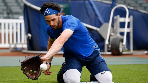 <p>               Atlanta Braves shortstop Dansby Swanson works on his fielding skills before a baseball game against the Cincinnati Reds Thursday, Aug. 1, 2019, in Atlanta. (AP Photo/John Bazemore)             </p>