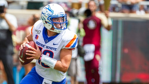 <p>               Boise State quarterback Hank Bachmeier (19) rolls out to pass in the first half of an NCAA college football game against Florida State in Tallahassee, Fla., Saturday, Aug. 31, 2019. (AP Photo/Mark Wallheiser)             </p>
