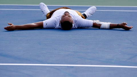 <p>               Nick Kyrgios, of Australia, falls to the court as he reacts after defeating Daniil Medvedev, of Russia, in a final match at the Citi Open tennis tournament, Sunday, Aug. 4, 2019, in Washington. (AP Photo/Patrick Semansky)             </p>