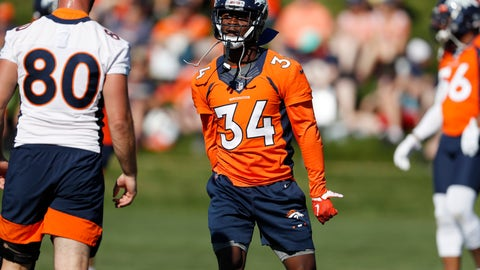<p>               Denver Broncos strong safety Will Parks (34) runs a drill during an NFL football training camp session Tuesday, Aug. 6, 2019, in Englewood, Colo. (AP Photo/David Zalubowski)             </p>