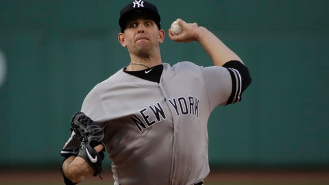 <p>               New York Yankees starting pitcher James Paxton delivers to the Boston Red Sox in the first inning of a baseball game at Fenway Park, Friday, July 26, 2019, in Boston. (AP Photo/Elise Amendola)             </p>