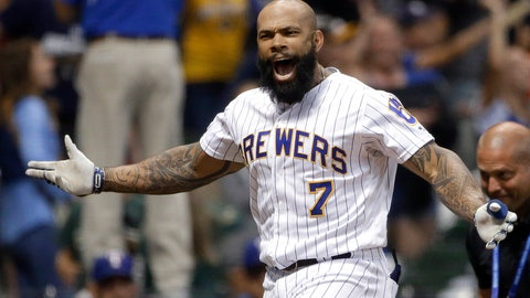 <p>               Milwaukee Brewers' Eric Thames gestures after hitting a game-ending solo home run against the Texas Rangers in a baseball game Friday, Aug. 9, 2019, in Milwaukee. The Brewers won 6-5. (AP Photo/Aaron Gash)             </p>