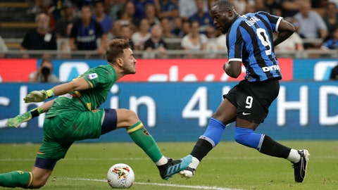 <p>               Inter Milan's Romelu Lukaku, right, scores his side's third goal during the Serie A soccer match between Inter Milan and Lecce at the San Siro stadium, in Milan, Italy, Monday, Aug. 26, 2019. (AP Photo/Luca Bruno)             </p>