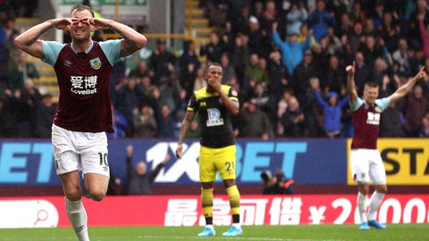 <p>               Burnley's Ashley Barnes celebrates scoring his teams second goal during the English Premier League soccer match between Burnley and Southampton at the Turf Moore stadium, Burnley, England. Saturday, Aug, 10 2019 (Martin Rickett/PA via AP)             </p>