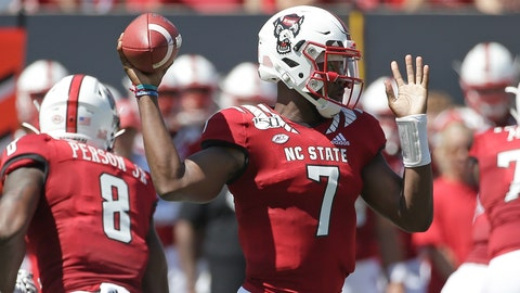 <p>               North Carolina State quarterback Matthew McKay (7) passes during the first half of an NCAA college football game against East Carolina in Raleigh, N.C., Saturday, Aug. 31, 2019. (AP Photo/Gerry Broome)             </p>