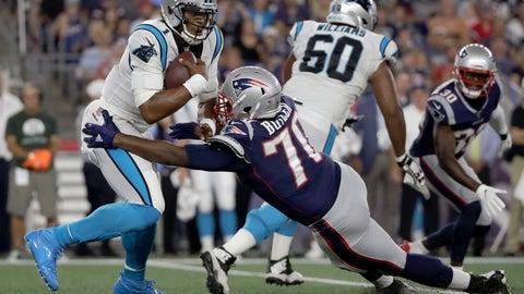 <p>               New England Patriots defensive tackle Adam Butler (70) sacks Carolina Panthers quarterback Cam Newton (1) in the first half of an NFL preseason football game, Thursday, Aug. 22, 2019, in Foxborough, Mass. (AP Photo/Elise Amendola)             </p>