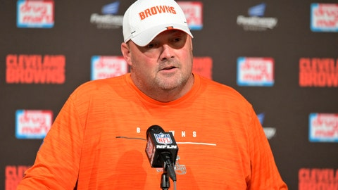 <p>               Cleveland Browns coach Freddie Kitchens speaks during a news conference after the tema's NFL preseason football game against the Detroit Lions, Thursday, Aug. 29, 2019, in Cleveland. The Browns won 20-16. (AP Photo/David Richard)             </p>