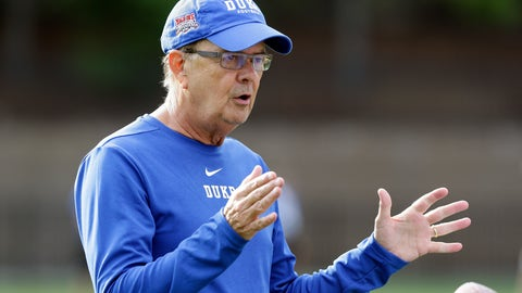 <p>               In this photo taken Friday, Aug. 2, 2019 Duke head coach David Cutcliffe directs his players during an NCAA college football practice in Durham, N.C. (AP Photo/Gerry Broome)             </p>