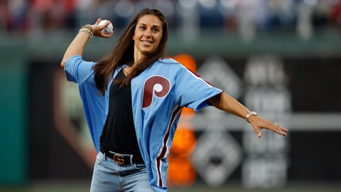<p>               U.S. soccer player Carli Lloyd throws out a pitch before a baseball game between the Philadelphia Phillies and the Pittsburgh Pirates, Tuesday, Aug. 27, 2019, in Philadelphia. (AP Photo/Matt Slocum)             </p>