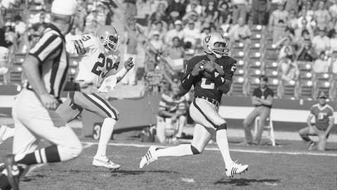 <p>               FILE - In this Jan. 8, 1983, file photo Los Angeles Raiders wide receiver Cliff Branch, right, catches a pass from quarterback Jim Plunkett for a 64-yard gain during the first quarter of a playoff game with the Cleveland Browns in Los Angeles. Branch, one of the Raiders' career-leading receivers who won three Super Bowls, has died. He was 71. (AP Photo, File)             </p>