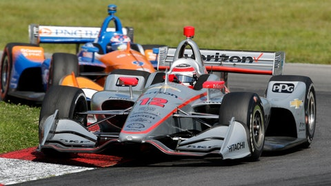 <p>               Will Power (12) leads Scott Dixon through a corner during the IndyCar Series auto race, Sunday, July 28, 2019, at Mid-Ohio Sports Car Course in Lexington, Ohio. (AP Photo/Tom E. Puskar)             </p>