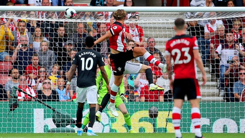 <p>               Southampton's Jannik Vestergaard, center, scores his side's first goal of the game during the English Premier League soccer match at St Mary's, Southampton, England, Saturday Aug. 31, 2019. (Mark Kerton/PA via AP)             </p>