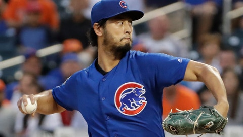 <p>               Chicago Cubs' starting pitcher Yu Darvish winds up during the second inning of a baseball game against the New York Mets, Tuesday, Aug. 27, 2019, in New York. (AP Photo/Kathy Willens)             </p>