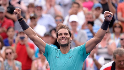 <p>               Spain's Rafael Nadal celebrates his win over Russia's Daniil Medvedev in the final of the Rogers Cup tennis tournament in Montreal, Sunday, Aug. 11, 2019. (Paul Chiasson/The Canadian Press via AP)             </p>