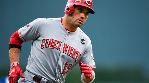 <p>               Cincinnati Reds' Joey Votto rounds third base on his two-run home run during the first inning of the team's baseball game against the Atlanta Braves, Friday, Aug. 2, 2019, in Atlanta. (AP Photo/John Amis)             </p>