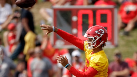 <p>               Kansas City Chiefs quarterback Patrick Mahomes throws during NFL football training camp Monday, Aug. 5, 2019, in St. Joseph, Mo. (AP Photo/Charlie Riedel)             </p>