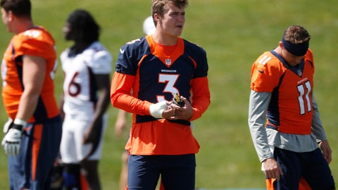<p>               His right hand wrapped because of a thumb injury, Denver Broncos rookie quarterback Drew Lock looks on as teammates take part in an NFL football practice Tuesday, Aug. 27, 2019, at the team's headquarters in Englewood, Colo. (AP Photo/David Zalubowski)             </p>